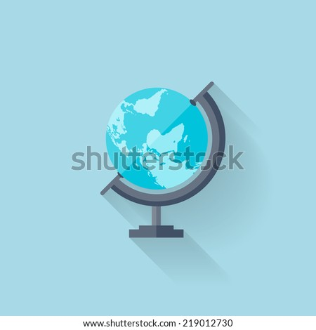 Flat school geographical earth globe - stock vector