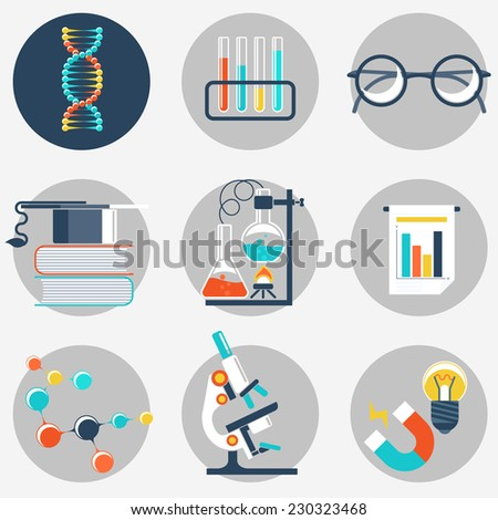 Flat science and education icon sets. Vector - stock vector