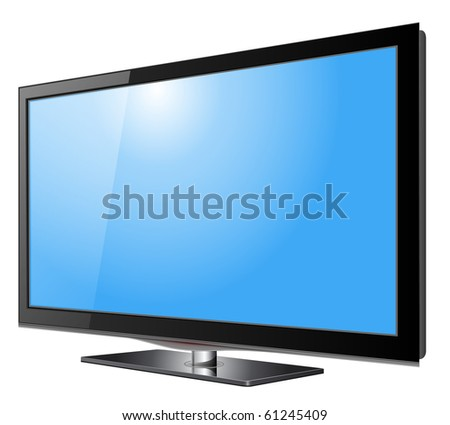 Flat screen tv lcd, plasma realistic vector illustration. - stock vector