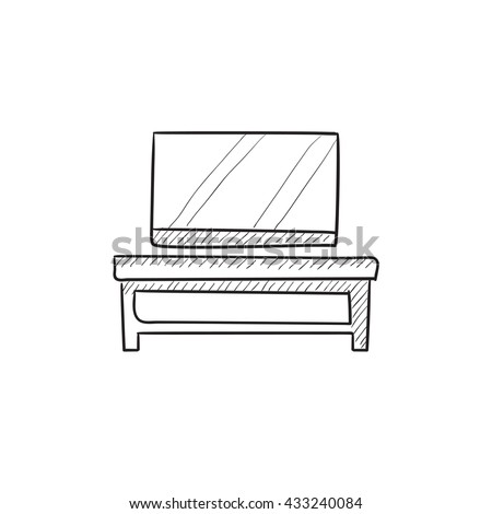 Flat screen tv on modern tv stand vector sketch icon isolated on background. Hand drawn Flat screen tv on tv stand icon. Flat screen tv on modern tv stand sketch icon for infographic, website or app. - stock vector
