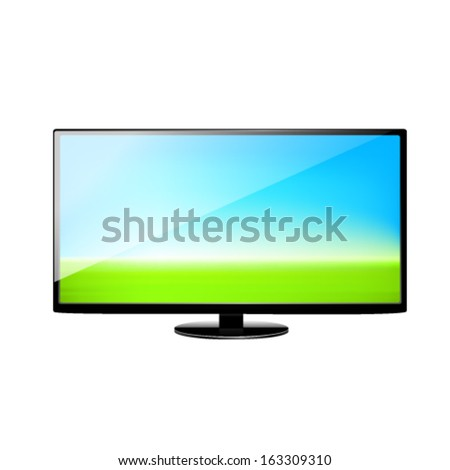 Flat screen TV set, isolated on white background. - stock vector
