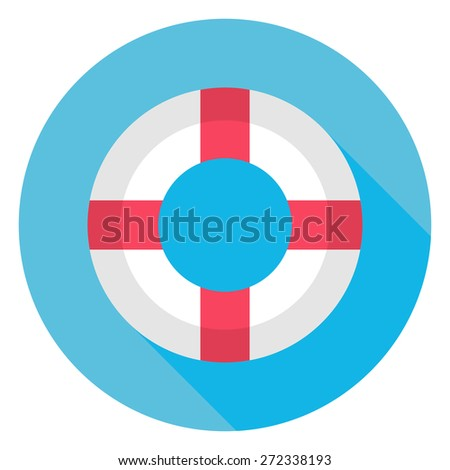 Flat Sea Lifebuoy Circle Icon with Long Shadow. Vector Illustration Flat Stylized