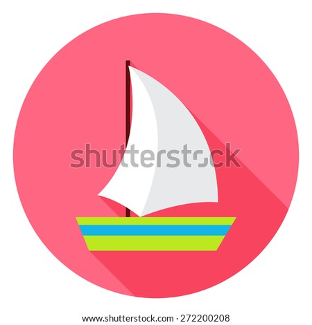 Flat Sea Ship Circle Icon with Long Shadow. Vector Illustration Flat Stylized - stock vector