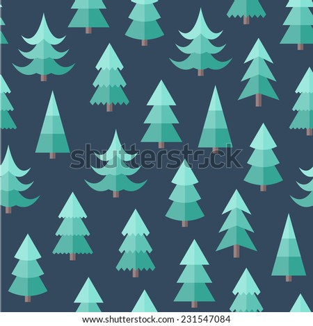 Flat seamless pattern with Christmas trees. Abstract texture with trees. Fir forest. Christmas forest seamless - stock vector