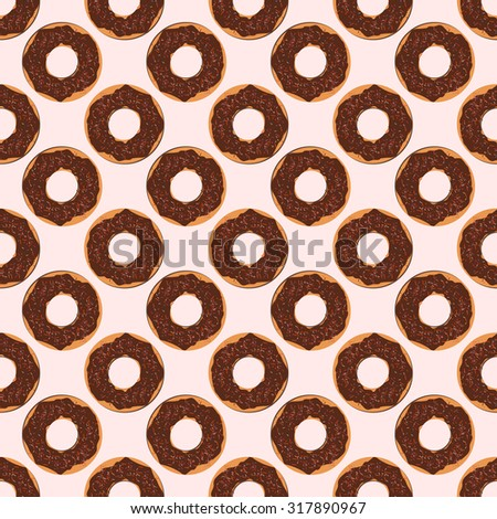 Flat  seamless patterns. Various donuts. Eight backgrounds for your design. Vector illustration