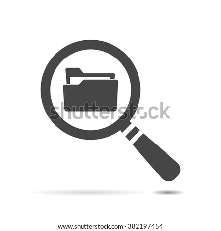 Flat Search concept with folder icon - Computing - Data and information  - stock vector