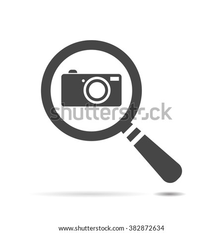 flat search icon with photo camera - vector illustration - stock vector