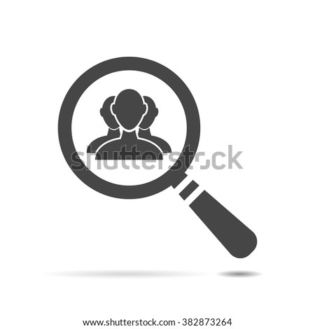 flat search icon with user group people - stock vector