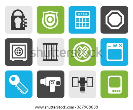 Flat Security and Business icons - vector icon set