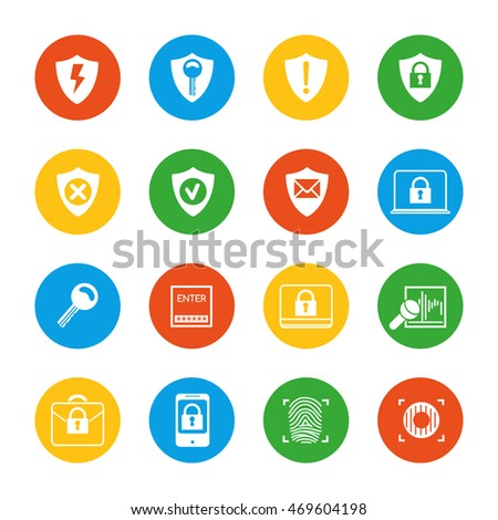 Flat security icons set vector isolated on white