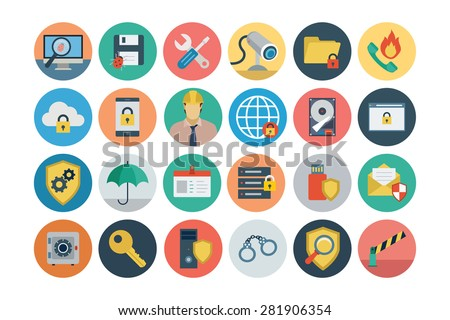 Flat Security Vector Icons 1 - stock vector