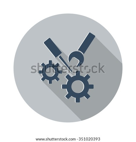 Flat Service icon with long shadow on grey circle