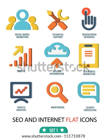 Flat set icons for Web and Mobile Applications - stock vector