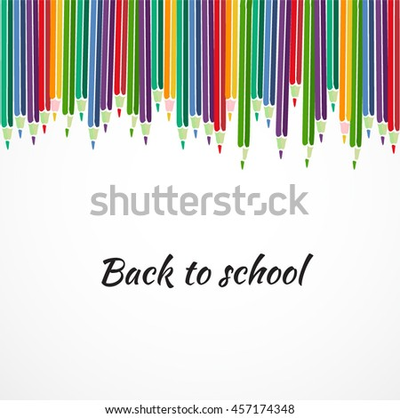 Flat set of colored pencils with shadow on the background. Vector illustration concept design. Back to school
