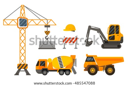 flat set of construction machinery and vehicles. vector illustration isolated on white background