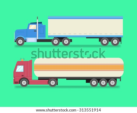 Flat set of icons trucks. Heavy trucks, fuel truck, logistics, land transport, delivery. Vector illustration