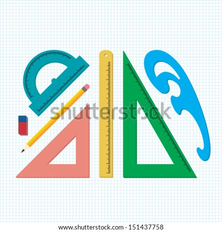 Flat Set of measuring tools and rulers - stock vector