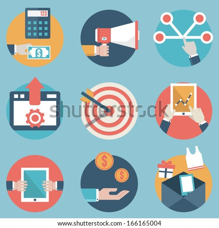 Flat set of modern vector icons and symbols on business management or analytics and e-commerce theme - part 2 - vector icons - stock vector