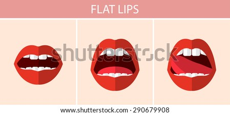 Flat sexy red lips - stock vector