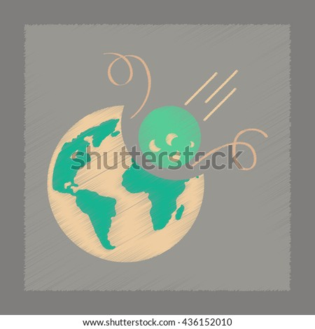 flat shading style icon meteorite earth - stock vector