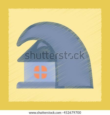 flat shading style icon tsunami house - stock vector
