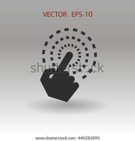 Flat shadow Hand Touch icon, vector illustration - stock vector