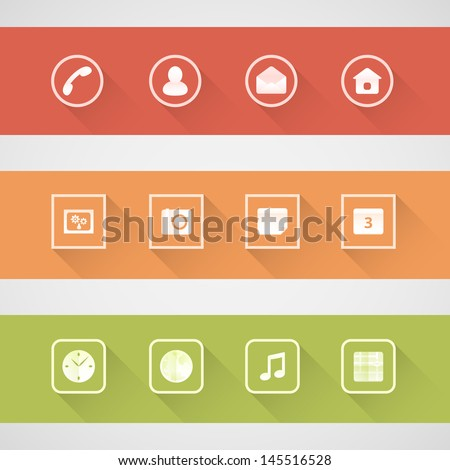 Flat shadow icons set for smart phone - stock vector