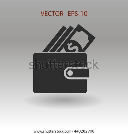 Flat shadow Wallet icon, vector illustration - stock vector