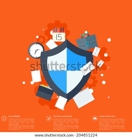 Flat shield icon. Data protection concept. Social network security - stock vector