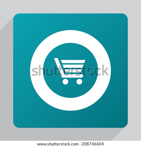 flat shopping cart icon, white on green background