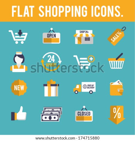 Flat shopping icons.#1 - stock vector