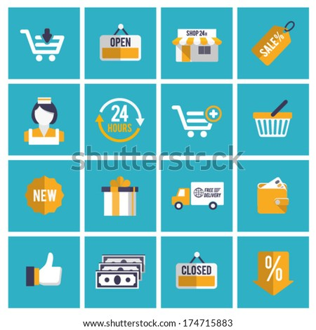 Flat shopping icons.#2