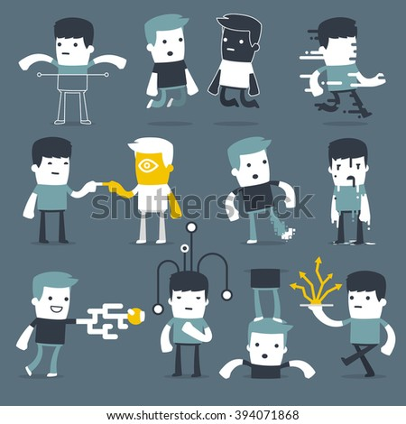 Flat Simple Characters two friends for use in design - stock vector