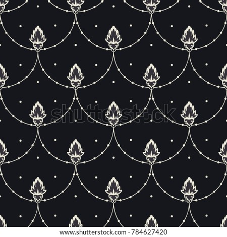 Flat simple flowers on rope with dots, seamless vector pattern on dark background, Can be used for print on fabric or wallpaper