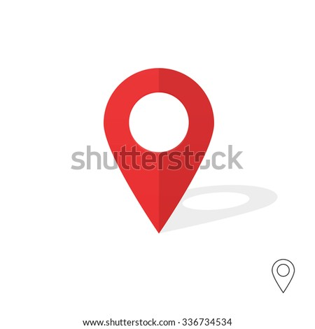 Flat simple marker with map vector icon template design colorful. Modern plan pointer banner logo template. GPS Navigation system pin illustration on gray background. Mobile application sign. - stock vector