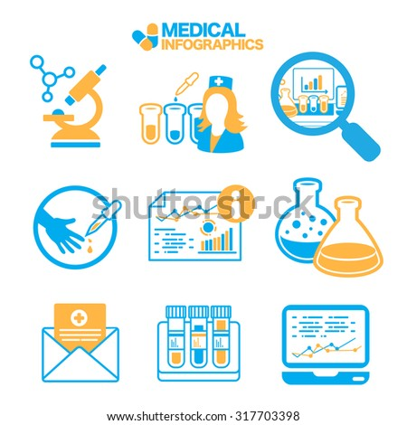 Flat Simple Medical Info graphics vector Elements icons illustration on white - stock vector