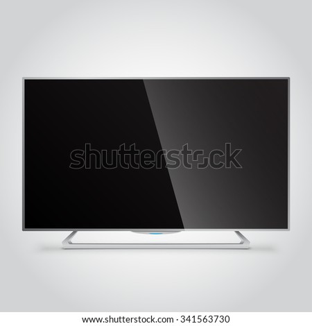 Flat Smart TV Mockup with blank screen, flat screen lcd, realistic, vector - stock vector