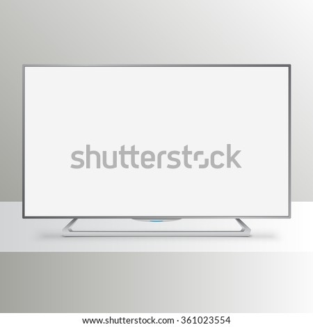Flat Smart TV Mockup with white blank screen - stock vector