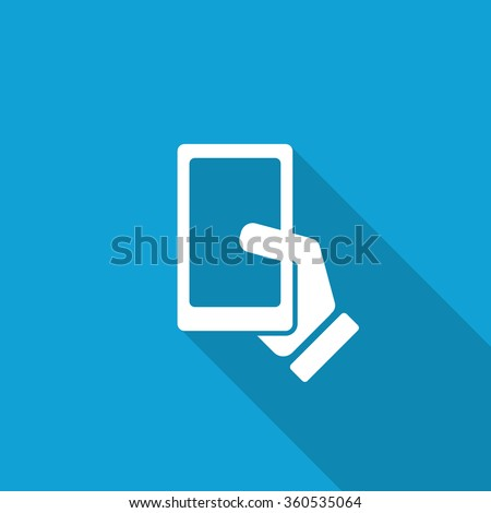 Flat Smartphone  icon with long shadow on blue backround - stock vector