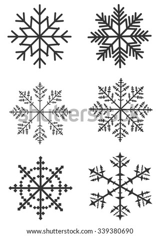 Flat snowflakes. Six icons isolated on a white background