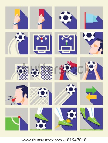 Flat Soccer Icon Collection - stock vector