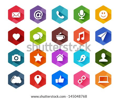 Flat Social Media Icons for Light Background in Long Shadow Style - stock vector