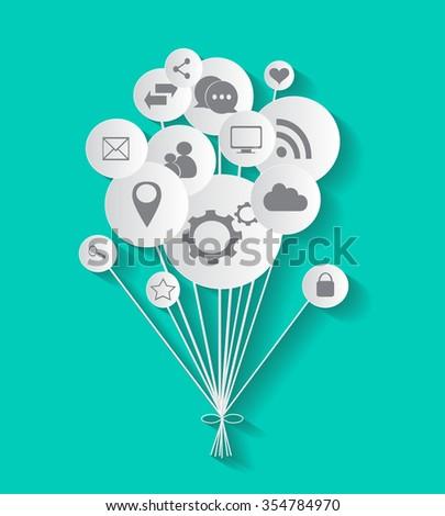 Flat social media icons in balloon vector eps 10 - stock vector