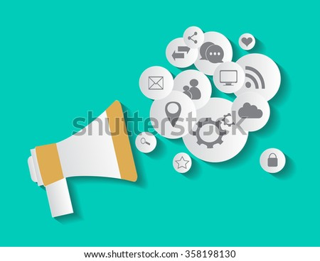 Flat social media icons in balloon with speaker vector eps 10 - stock vector