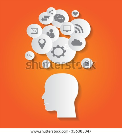 flat social media icons with human head, abstract vector