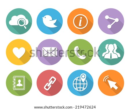 Flat Social network icons set with long shadow - stock vector