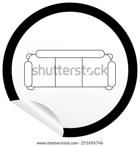 flat sofa icon on sticker floor stock vector hd royalty free rh shutterstock com free furniture clipart for floor plans