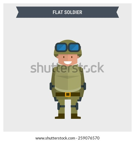 Flat soldier. Vector illustration - stock vector
