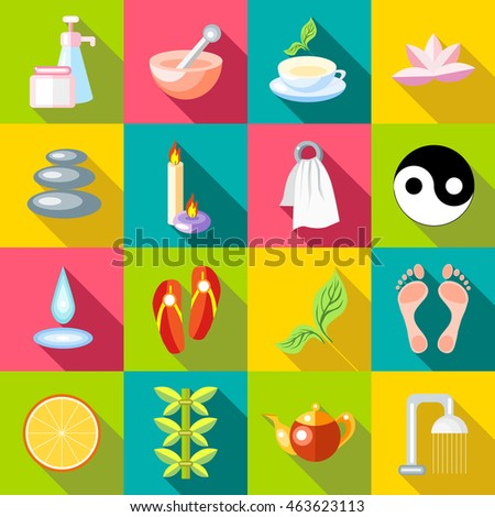 Flat spa icons set. Universal spa icons to use for web and mobile UI, set of basic spa elements vector illustration