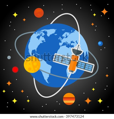 Flat space background with the earth and satellites. Eps 10. Elements of this image furnished by NASA - stock vector